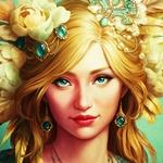 Аватар Девушка с золотыми волосами, с бирюзовыми глазами и украшениями на голове, ушах и шее в виде перьев, цветов и бирюзовых камней, арт от Viccolatte