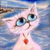 Аватар Котенок с большими глазами и с кулончиком сердечком на шее